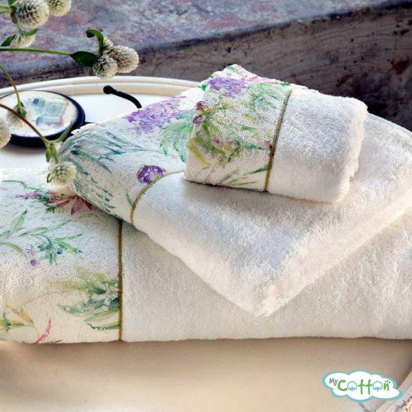 Набор махровых полотенец Tivolyo Home кремовый NORA