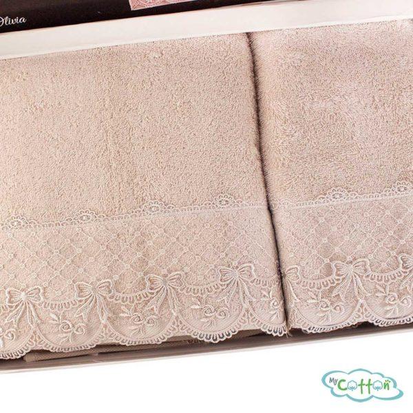 Набор махровых полотенец Tivolyo Home бежевый OLIVIA-