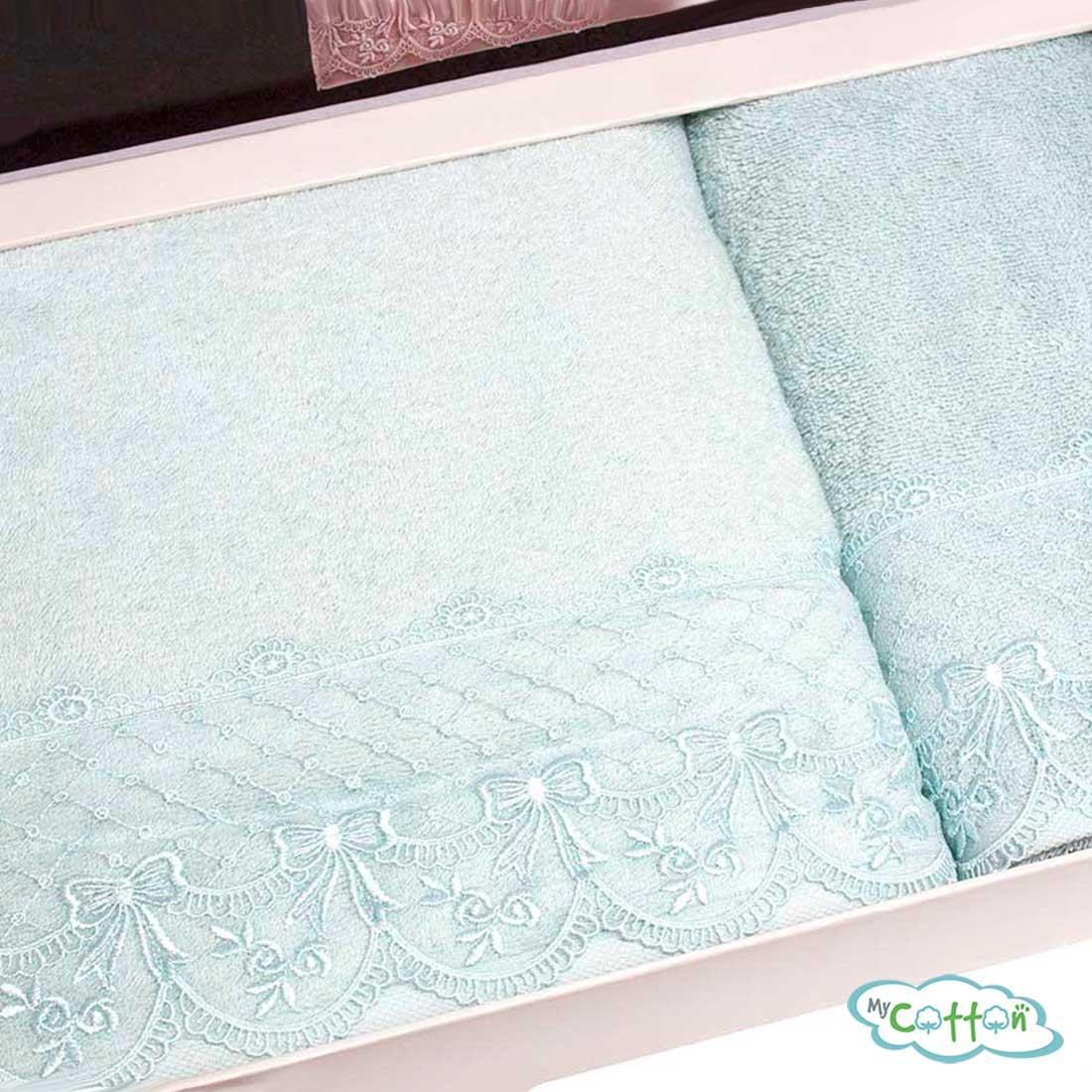 Набор махровых полотенец Tivolyo Home бирюзовый OLIVIA