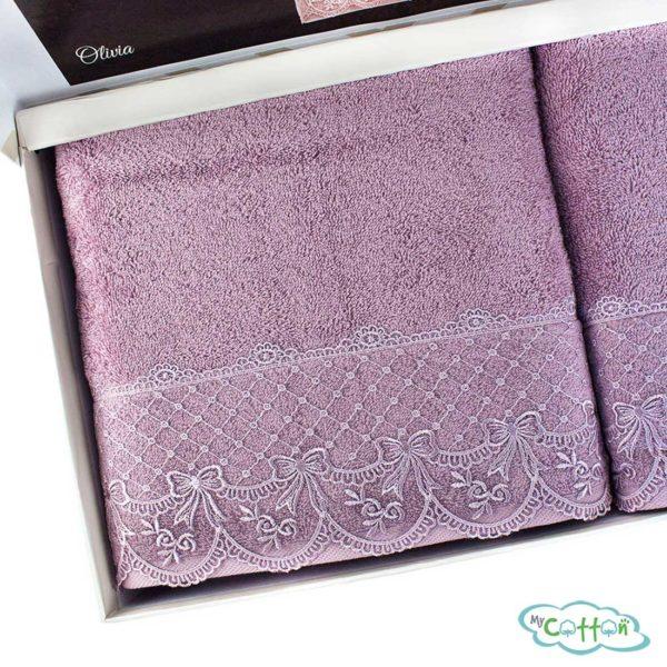 Набор махровых полотенец Tivolyo Home фиолетовыйOLIVIA