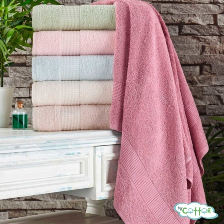 Полотенце махровое Tivolyo Home розовое PAMUK HAVLU