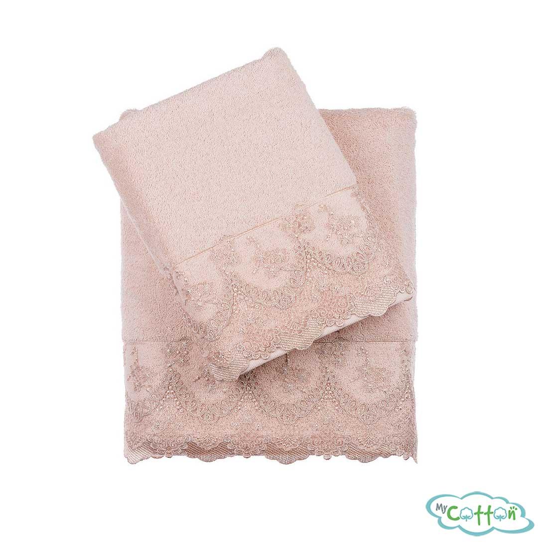 Набор махровых полотенец Tivolyo Home бежевые REGINA