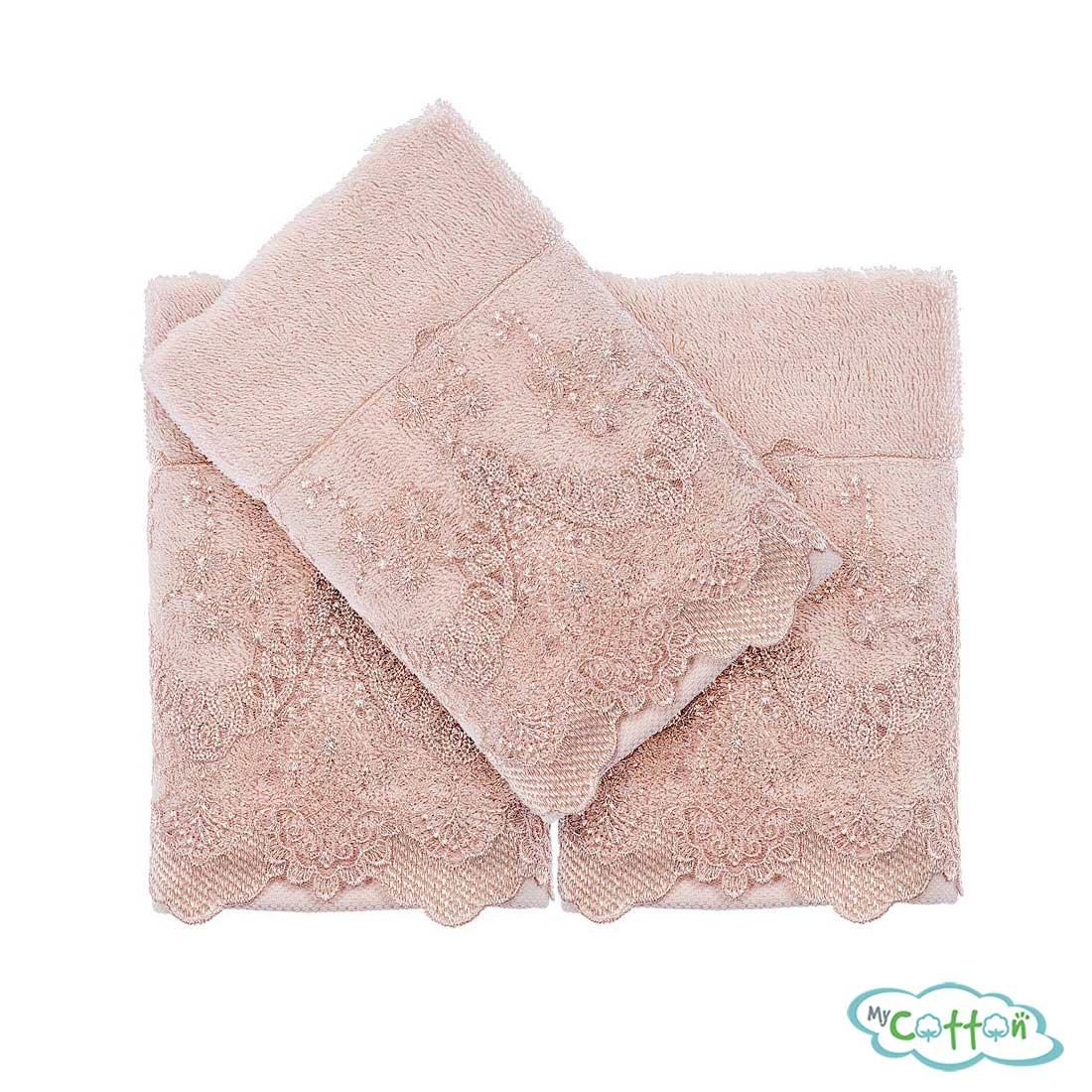 Набор махровых полотенец Tivolyo Home бежевые REGINA-