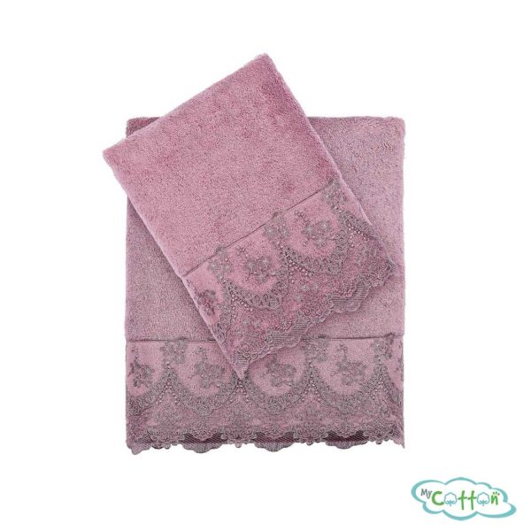 Набор махровых полотенец Tivolyo Home фиолетовых REGINA