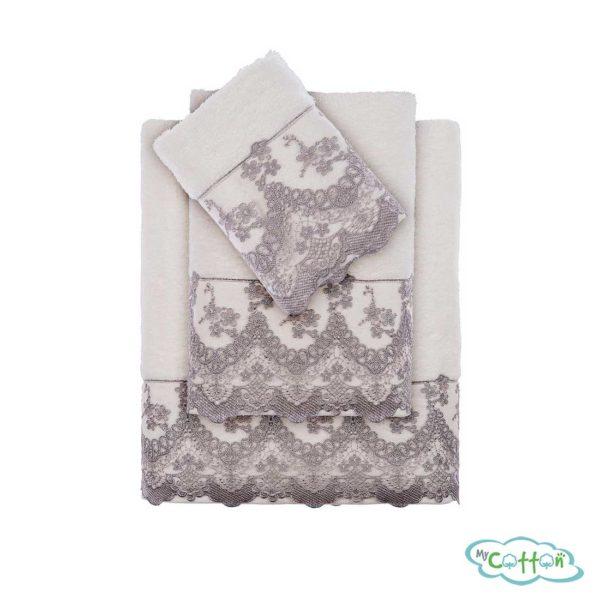 Набор махровых полотенец Tivolyo Home серыеREGINA-