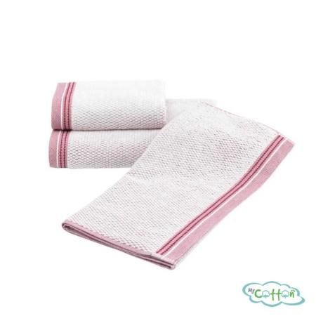 Набор махровых полотенец Soft Cotton с бордовым кантомTERRA