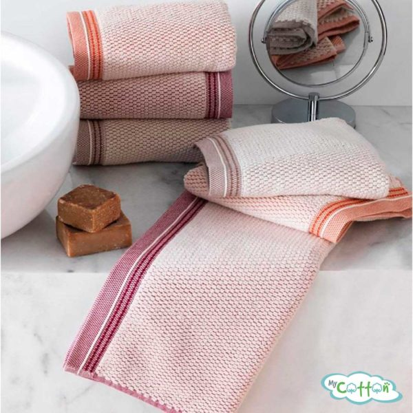 Набор махровых полотенец Soft Cotton с оранжевым кантомTERRA