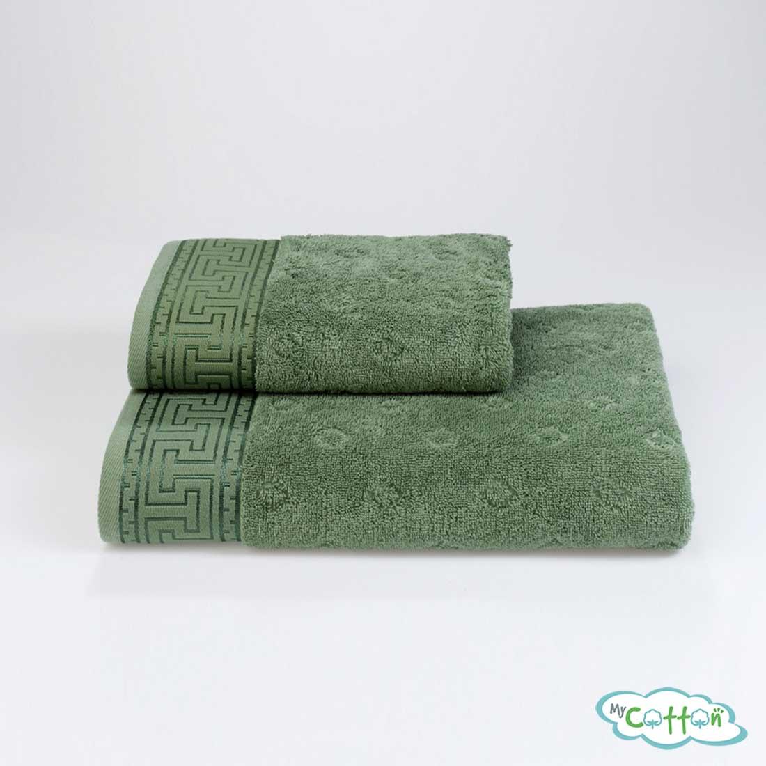 Полотенце махровое Soft Cotton зеленое VERA